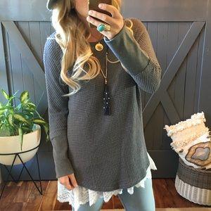 Sweaters - NWT Dark Grey Waffle Weave Cuffed Thermal Top